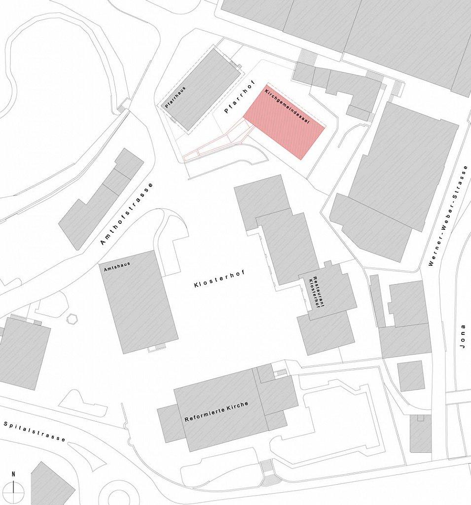 Situationsplan Pfarrhof (Neubau Saal rot)