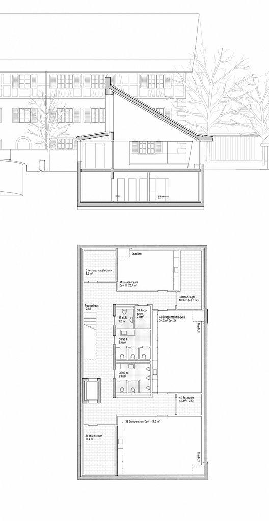 Untergeschoss und Querschnitt Saal